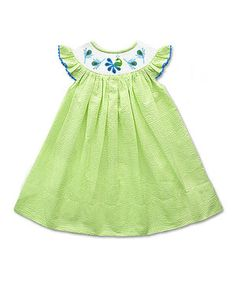 This The Smocked Shop Green Peacock Smocked Angel-Sleeve Dress - Infant & Toddler by The Smocked Shop is perfect! #zulilyfinds
