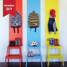Mod mudroom makeover via Small Fry | The Hanna Blog Room Wall Painting, Kids Room Paint, Kids Rooms, Ikea Kids, Ikea Children, Bekvam Stool, Ikea Bekvam, Painting Ikea Furniture, Ikea Furniture Hacks