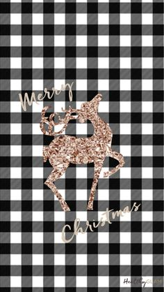 Free iphone Christmas Wallpapers. Plaid and rose gold reindeer