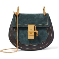 Chloé Drew mini studded suede and leather shoulder bag ($1,950) ❤ liked on Polyvore featuring bags, handbags, shoulder bags, purses, midnight blue, handbags shoulder bags, leather crossbody, shoulder handbags, leather crossbody purses and crossbody cell phone purse