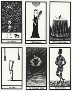 Edward Gorey illustrated his own joke tarot deck with 20 cards that predict gruesome outcomes, from hair loss to shriveling. Might be fun framed on a wall.