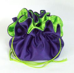 This Dollar Dance Bridal Money Purse or drawstring pouch comes in royal purple Lamour satin, (peau di soie) with lime green bridal satin lining. Wedding Bags, Wedding Reception, Reception Ideas, Drawstring Pouch, Lime, Satin, Money, Purses, Bridal