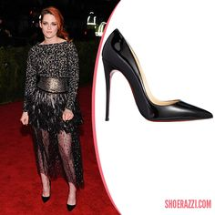 Kristen Stewart in Christian Louboutin Black Patent Leather So Kate Pumps @ MET Gala 2014