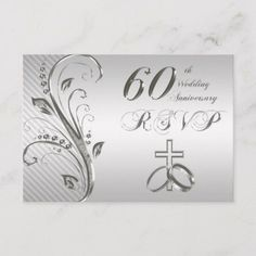 Shop Wedding Anniversary RSVP Card created by Digitalbcon. Personalize it with photos & text or purchase as is! Wedding Anniversary Celebration, 60th Anniversary, Diamond Anniversary, Response Cards, Wedding Color Schemes, Color Themes, Card Sizes, Silver Color, Rsvp