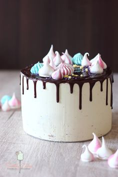 Chocolate layer cake with meringue kisses