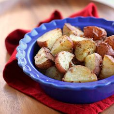 Ranch Roasted Potatoes: 2 lbs red potatoes, quartered, .4 oz dry Ranch salad dressing mix, olive oil, 1 t salt. 425 oven.  Drizzle or spray potatoes with olive oil, toss with Ranch dressing and salt.  Line baking sheet with foil, spread out potatoes on it, bake 20 - 25 minutes until tender and turning brown.