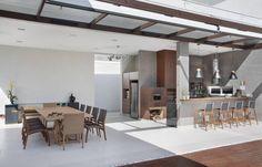 Área Gourmet: Varanda, alpendre e terraço Moderno por ANGELA MEZA ARQUITETURA & INTERIORES