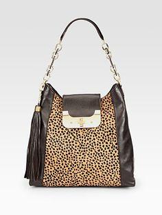 Diane von Furstenberg - Leopard Print Haircalf Accented Hobo
