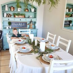 Little cutie helping himself to a nectarine that I used in this tablescape. I definitely have a thing for eucalyptus and white candles on my tables. Oh yes, and blue hutches and copper of course! White Candles, Tablescapes, Homestead, Table Settings, Room Ideas, Copper, Dining Room, Instagram Posts, Blue