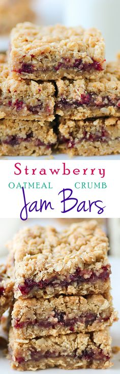These STRAWBERRY OATMEAL JAM BARS are packed with flavor and are so easy to make. Make ahead before the #holidays #breakfast #dessert #oatmeal #christmas #recipes