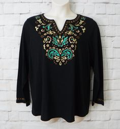 Womens Plus DRESSBARN Black Knit Embroidered Floral Bronze Beaded Top Size 2X…