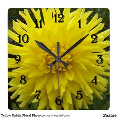 Yellow Dahlia Floral Photo Square Wall Clock