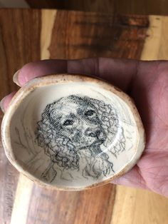 Not a Decal Side Glazed in Mottle Blue and Brown. Individually Drawn Print or Stamp Ox Hand Drawn on Hand Made Ceramic Ring Dish