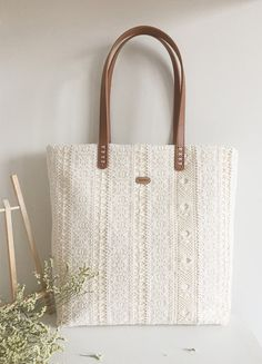 Handmade Shabby Chic Cotton Wedding Bag, Lace Bag, Lace Tote, Vintage Style, Ivory/Off White Make to Order, L070