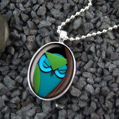 Paper Craft Owl & Tree Sterling Silver Oval Necklace