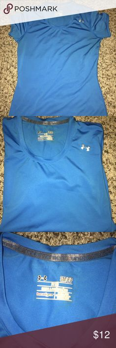 UA FITTED HEAT GEAR SHIRT Perfect condition blue fitted UA SHIRT Under Armour Tops