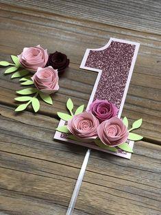 One Year Cake Topper, Floral Smash Cake, Floral Pink Cake Topper, Floral Topper, first birthday floral topper - Geburtstag Girl First Birthday, Diy Birthday, 1st Birthday Parties, One Year Birthday, Paris Birthday, Birthday Banners, First Birthday Cakes, Birthday Photos, Birthday Ideas