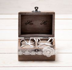 Wedding Ring Box Wedding Ring Holder Ring Pillow Bearer Box with Shabby Chic Rose Rustic Barn Wooden Burlap and Lace Mr and Mrs