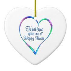 #Knitting Happy Heart Ceramic Ornament - #knitting #gifts