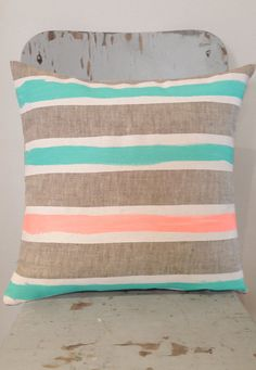Meg White and Mint art cushion - insert included, bright mint, neon peach and white on linen cushion for your home. $48