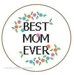 Instant Download Cross Stitch Pattern Best Mom Ever cute and colourful quote /text mothers day gift mama love wall art cushions orange blue on Etsy, $3.50