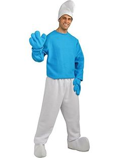 Deluxe Smurf Costume for adults - This Smurfs Movie outfit features a blue smurf shirt, white pants & shoe covers and blue mittens - adult standard size. Mens Halloween Fancy Dress, Superhero Fancy Dress, Superhero Halloween, Halloween Kostüm, Halloween Costumes, Holiday Costumes, Movie Costumes, Character Costumes, Adult Costumes