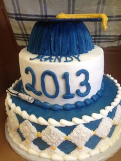 Blue and white graduation cake