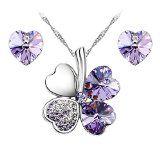 #Gioielli #8: Le Premium - Parure placcata oro bianco collana trifoglio e orecchini cuore coordinati, con cristalli Swarovski Elements Viola
