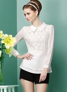 White Long Sleeve Lapel Ruffle Lace Blouse - abaday.com