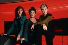 Dr. Beverly Crusher: Gates McFadden, Counselor Dianna Troi: Marina Sirtis, and Lt. Tasha Yar: Denise Crosby from Season 1.