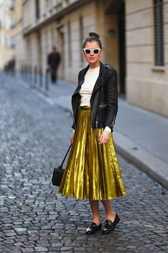 those flats, the metallic skirt and the leather jacket!