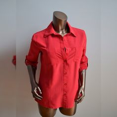 Red silky flowy button up shirt 3/4 sleeves NWT Silky material. Very comfy top. Size small. Brand new with attached tags. Never worn. Ask for a shipping discount! notations Tops Button Down Shirts