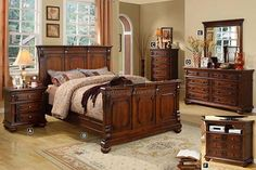 A.M.B. Furniture & Design :: Bedroom furniture :: Bedroom Sets :: Wood Bed Sets :: Headboard & Footboard sets :: 5 pc Fortrose Traditional Style with Antique Gold Finish Knobs Pan Queen Bedroom Set in a Dark Oak Finish Wood
