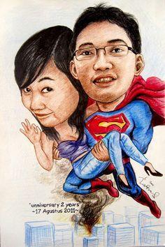Hero caricature karikatur online, jasa karikatur lucu