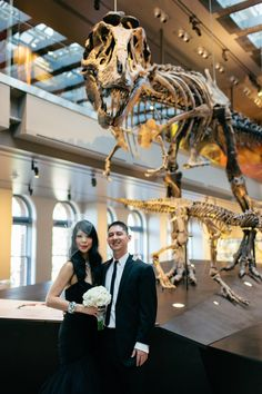 Dinosaur topiaries and punk rock shoes at this museum wedding
