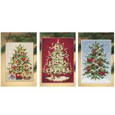 Christmas Tree Banner Ornaments - Cross Stitch, Needlepoint, Stitchery, and Embroidery Kits, Projects, and Needlecraft Tools | Stitchery