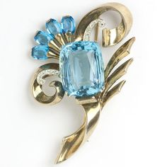 Aquamarine, Diamanté & Vermeil Sterling Flower Retro Modern Brooch by Mazer