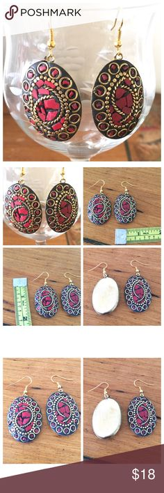 """🌺Handmade Bohemian Style Earrings🌺 Gorgeous!! 😍High quality Hand Crafted in India earrings. Hand painted with red, black and gold tones. Ear hooks made of high quality stainless steel. Length is 2"""" and width is about 0.5"""". Bundle and save on all my items. Let me know if you have any questions. Thank you for stopping by! Boutique Jewelry Earrings"""