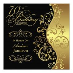 Black And Gold 70th Birthday Party Invitation Wording Invites Elegant Invitations