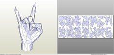 pdo file template for Polygonal Sculpture - Sign of the Horns. Cardboard Paper, 3d Paper, Paper Toys, Paper Crafts, Origami Paper Art, Paper Models, Kirigami, Sculpture Art, Horns