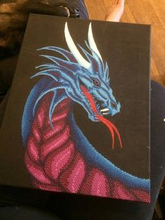 Fantasy Dragon Art Painting, amazing dot painting of a blue and red dragon on canvas. This would make a really unique gift for just about anyone, but specifically someone who is into fantasy and dragons. Cute Canvas Paintings, Easy Canvas Art, Canvas Painting Tutorials, Dot Art Painting, Mandala Painting, Colorful Paintings, Animal Paintings, Fantasy Dragon, Dragon Art
