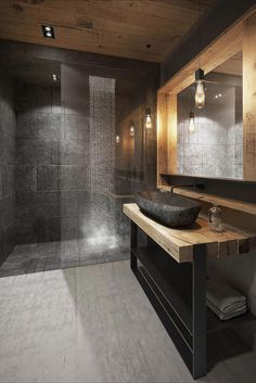 Contemporary bathroom with navy subway herringbone feature wall and grey tiles, custom timber vanity and sleek tapware Bathroom Design Luxury, Modern Bathroom Design, Luxury Bathrooms, Small Bathroom, Master Bathroom, Bathroom Ideas, Bathroom Vanities, Bathroom Cabinets, Bathroom Remodeling
