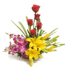 5 #Red #Roses with 5 #Orchids with 2 #Lilies Arranged in #Basket Price: $22.82