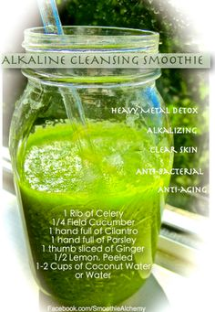 Alkalize and cleanse with this green smoothie! This is a really great base recipe for green smoothies. If you want to sweeten it up a bit, add 1-2 frozen bananas, 1-2 cups of berries or 1-2 cups of pineapple