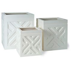 Medium Chippendale Planter      These lightweight planters come in two colors, adorned with the traditional Chippendale pattern. Constructed in fiberglass, these sturdy yet lightweight planters are perfect for restaurants, storefronts, or home patios.