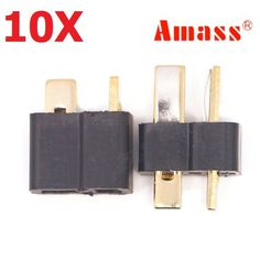 10 Pair Amass AM-1015 T Plug Connector Black Male & Female