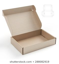 Corrugated Cardboard Open Empty Box with Blueprint Template Box Packaging Templates, Packaging Dielines, Craft Packaging, Food Packaging Design, Cardboard Packaging, Diy Gift Box, Diy Box, Corrugated Packaging, Instruções Origami