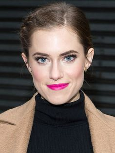 "Allison Williams ""soft braided updo, rosy cheeks, perfectly groomed brows and smoky eye, major falsies, hot pink lip"""