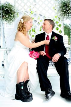 Bride and Groom EMT Portrait Boots ©Alicia Robichaud Photography www.arfoto.ca