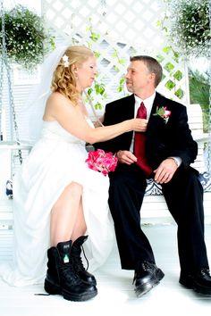 Bride and Groom EMT Portrait Boots ©Alicia Robichaud Photography www.arfoto.ca